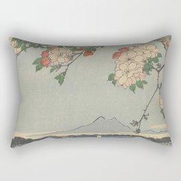 Cherry Blossoms on Spring River Ukiyo-e Japanese Art Rectangular Pillow