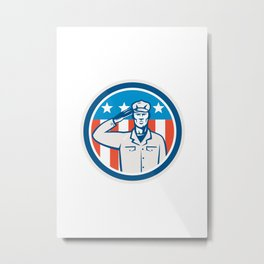 American Soldier Salute Flag Circle Retro Metal Print