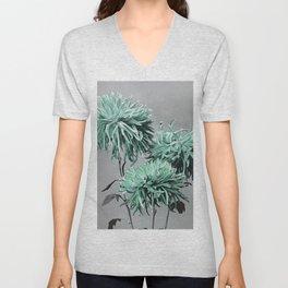 Green Grey Mid-Century Minimalist Flower Graphic Unisex V-Neck