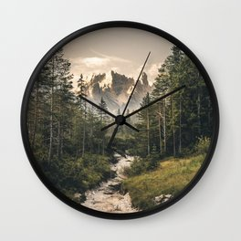 Morning Scenery in the famous Dolomite Mountains Wall Clock
