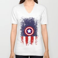 "steve rogers V-neck T-shirts featuring Captain ""Steve Rogers"" America by Some_Designs"