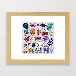 Hand drawn creatures in graffiti style Framed Art Print