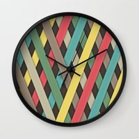 striped Wall Clocks featuring Striped by General Design Studio