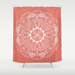 Living Coral Mandala-Pantone Color of the Year 2019 Shower Curtain