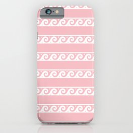 Pink and white Greek wave ornament pattern iPhone Case