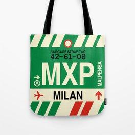 MXP Milan • Airport Code and Vintage Baggage Tag Design Tote Bag