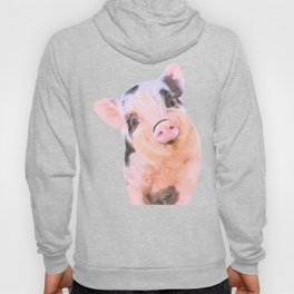 Baby Pig Turquoise Background Hoody