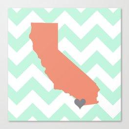 San Diego California in Coral on Mint Chevron Canvas Print