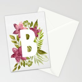 Monogram B with red watercolor flowers and leaves. Floral letter B. Stationery Cards
