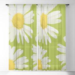 Daisies on a vivid green background - #Society6 #buyart Sheer Curtain