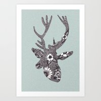 FLORAL DEER 2 Art Print