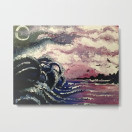 Kraken Waves Rolling In Metal Print