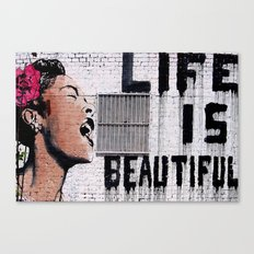 Life is Beautiful Banksy Mr Brainwash graffiti street art Canvas Print