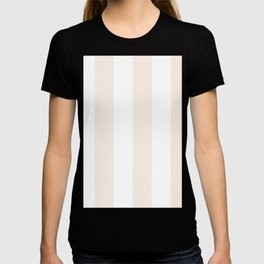 Wide Vertical Stripes - White and Linen T-shirt