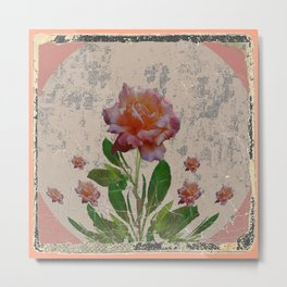 SHABBY CHIC CORAL ANTIQUE PINK ROSES Metal Print