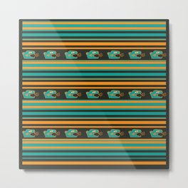 Aztec Mexican Mythological Jaguar Pattern Metal Print