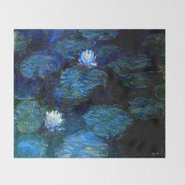 monet water lilies 1899 blue Teal Throw Blanket