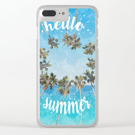 hello summer palm trees design 2 Clear iPhone Case