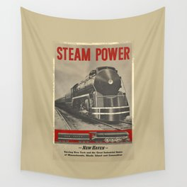 Train vintage Poster Wall Tapestry