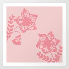 Floral silhouette pink Art Print