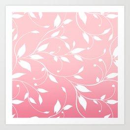 FLOWERY VINES | pink white Art Print