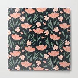 Dark Peach Flowers Metal Print