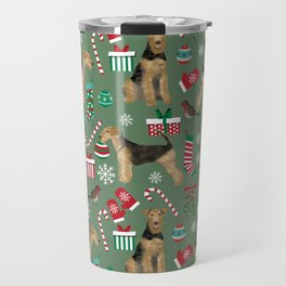 Airedale Terrier Christmas dog print dog pattern airedale pillow airedale phone case Travel Mug