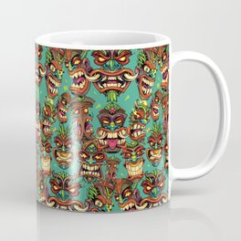Tiki Head Pattern Coffee Mug