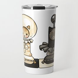 Black and white pawn cats on chessboard Travel Mug