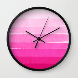 Luca - Ombre Brushstroke, pink girly trend art print and phone case for young trendy girls Wall Clock