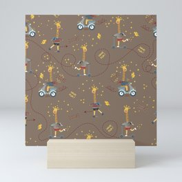 cool giraffe brown background Mini Art Print