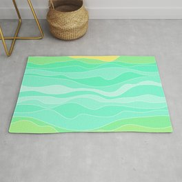 Ocean sunrise, waves in blue and green print  Rug