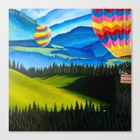hot air balloons Canvas Prints featuring Acrylic Hot Air Balloons by Megan White