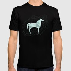 Blue Horse by Frzitin MEDIUM Mens Fitted Tee Black