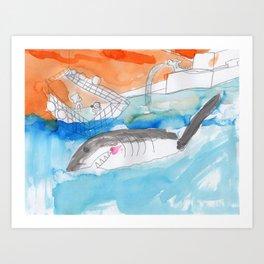Shark Watch Art Print