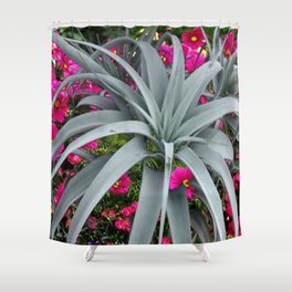 GRACEFUL ARCHING GREY-FUCHSIA FLORAL GARDEN PLANT Shower Curtain
