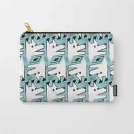 Blue White Origami Dog Pattern Carry-All Pouch