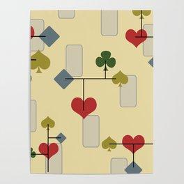 Atomic Era Card Suite Art Poster