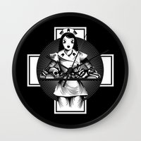 nurse Wall Clocks featuring Nurse by Trine Paulsen