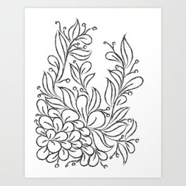 Floral Black and White Art Art Print