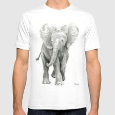 Baby Elephant Watercolor White Mens Fitted Tee MEDIUM