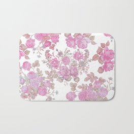 Vintage chic pastel pink green roses floral pattern Bath Mat