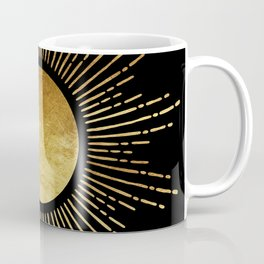 Golden Sunburst Starburst Noir Coffee Mug
