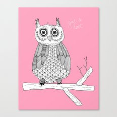 Pink Owl Gives A Hoot Canvas Print