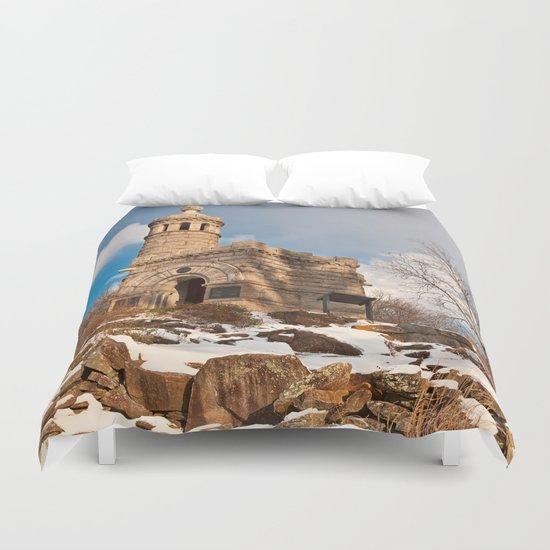 Winter Gettysburg Castle Duvet Cover