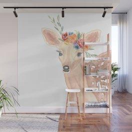 Watercolor Deer Flower Crown Wall Mural