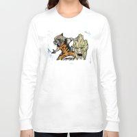 rocket raccoon Long Sleeve T-shirts featuring Rocket Raccoon and Groot by artbyteesa