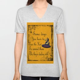 Witch Hat, Halloween, Magick Sign Unisex V-Neck