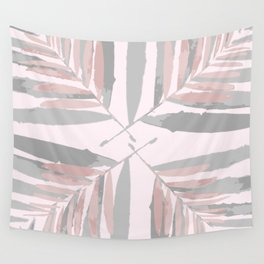 Geometric silver pink 3 light-grey autumn fall tropical pattern Palm-leaves ,society6 Wall Tapestry