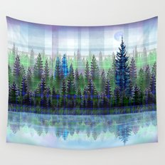 Nature Reflected Plaid Pine Forest Wall Tapestry